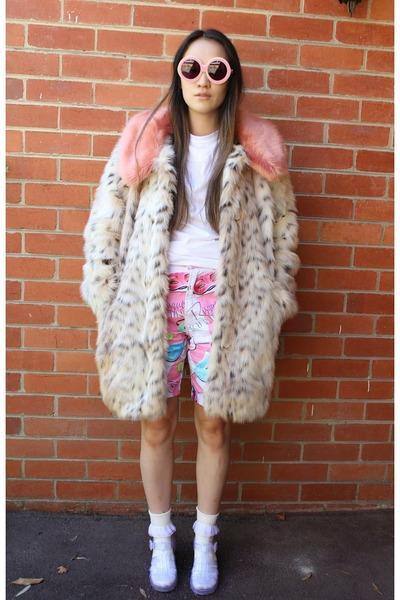 white Jay Jays shirt - camel asos coat - bubble gum Emma Mulholland shorts