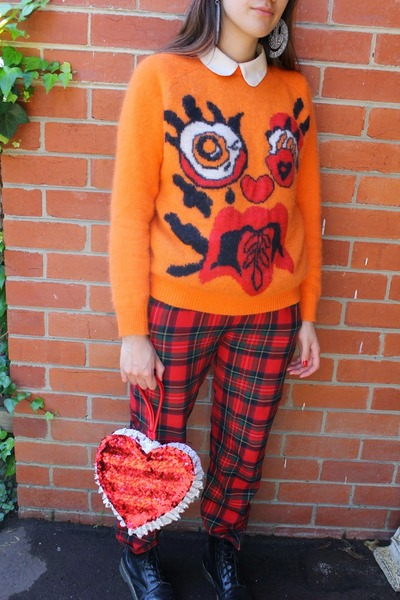 carrot orange Meadham Kirchhoff Topshop sweater - black Dr Martens boots
