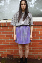 black thrifted vintage blouse - violet romance was born skirt