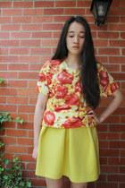 light yellow pizzashirtnet t-shirt - black Dr Martens boots - yellow asos skirt
