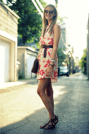 hawaiian print Equipment dress - Rebecca Minkoff bag - tortoise Elizabeth and Ja