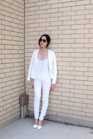 Zara top - J Brand jeans - vince jacket - Zara heels