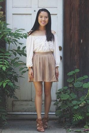 off white Ross Dress for Less top - tan Forever 21 skirt
