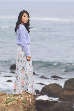 light blue floral vintage skirt - periwinkle Forever 21 sweater