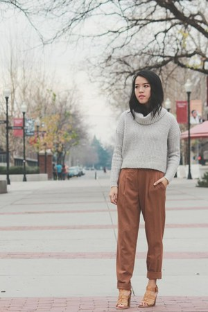 beige turtleneck Forever 21 top - brown Yesstyle pants - camel Ross heels