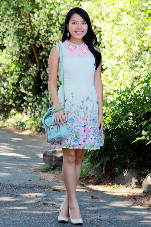 white floral print Forever 21 dress - light blue Ross bag