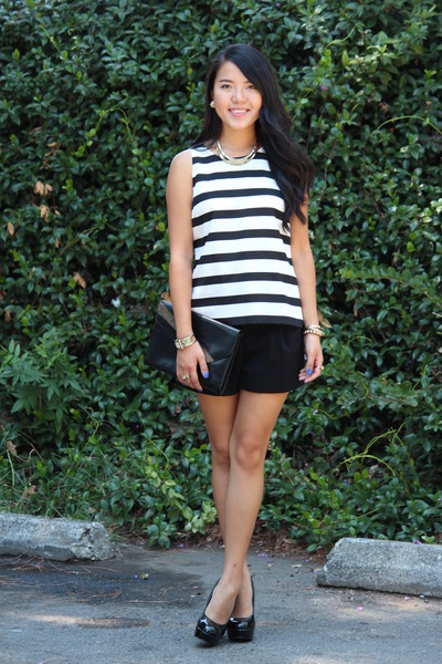 black bag - white stripes shirt - black shorts - black heels