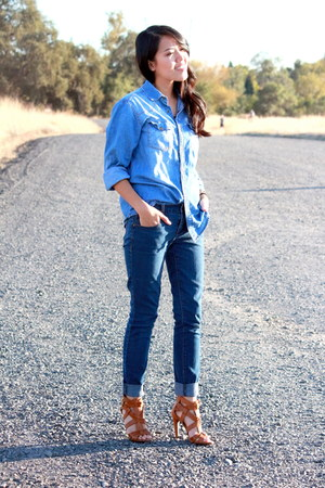 sky blue denim PacSun jeans - navy denim Old Navy jeans - tawny Ross heels