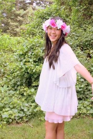 light pink pleats dress - ivory pleats blouse