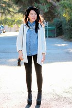over-sized white cardigan