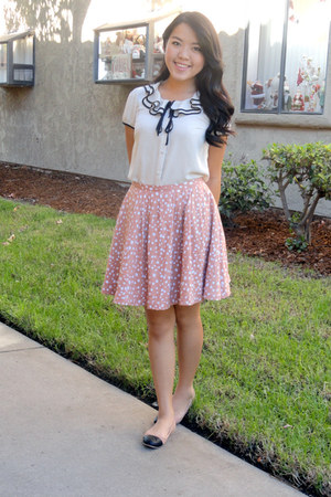 bubble gum dots skirt - white ruffles blouse - light pink flats