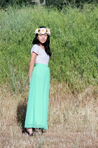 aquamarine maxi DIY skirt - light purple lace DIY top