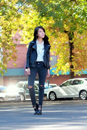 black faux leather Forever 21 jacket