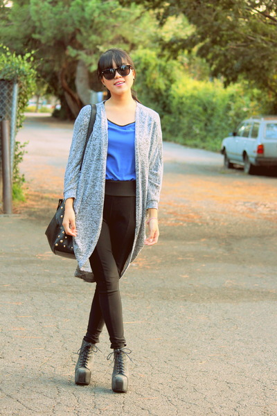 blue Forever 21 blouse - black high waisted Wet Seal pants