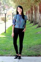 black skinny papaya pants - blue Forever21 top - black oxfords Reflection flats