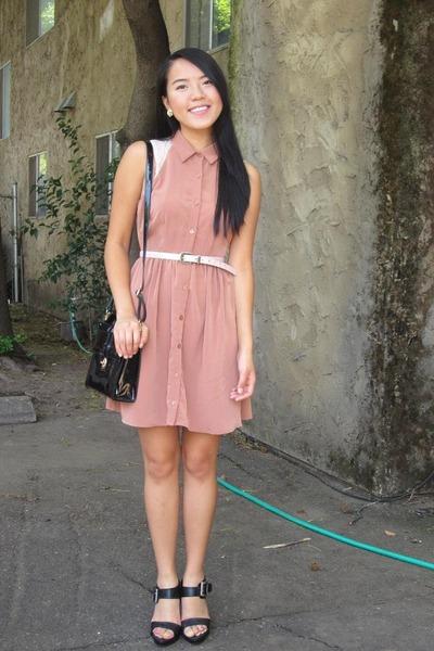 tan dress - black black heels
