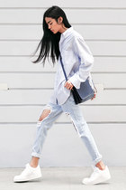 leather nike sneakers - sky blue boyfriend jeans Young Hungry Free jeans