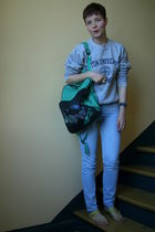silver vintage shirt - green vintage purse - blue Levis jeans - yellow Primark s
