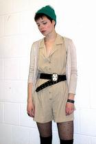 green vintage hat - beige Primark cardigan - beige vintage dress - black vintage