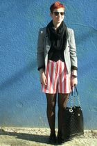 gray vintage blazer - white vintage shorts - black Primark accessories - black H