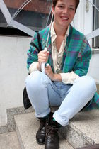 green vintage blazer - blue Levis Vintage jeans - brown vintage shoes - green H&
