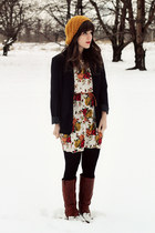 tawny Wanted boots - ivory kintage dress - mustard Forever 21 hat