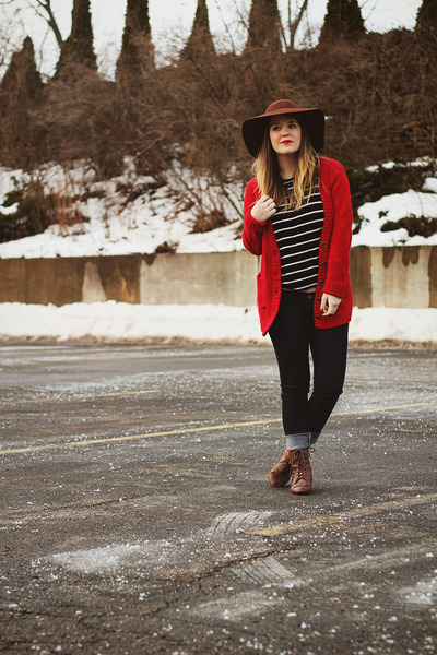 red Tulle cardigan - brown Vintage crown boots - blue modcloth jeans