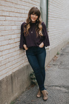 deep purple Nordstrom top - blue Joes Jeans jeans - tan Hush Puppies heels