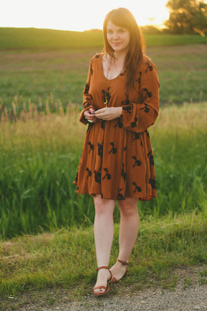 tawny madewell sandals - burnt orange free people dress