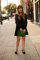 black Forever21 dress - black Marshalls jacket - green Mark purse