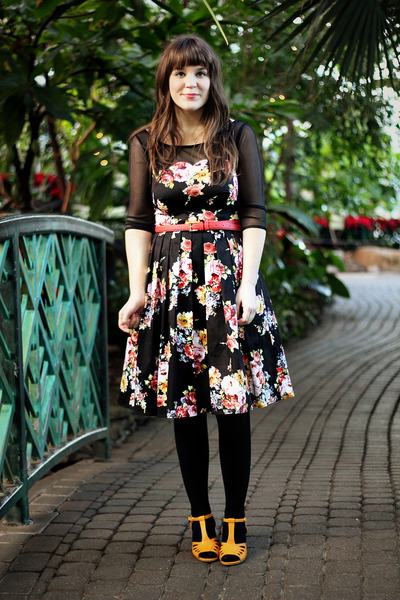 black modcloth dress - black J Crew tights - gold bait footwear wedges