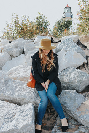 dark khaki Urban Outfitters hat - blue madewell jeans - black Target jacket