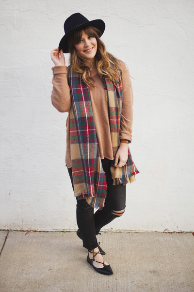 camel modcloth scarf - black H&M jeans - navy H&M hat - camel H&M sweater