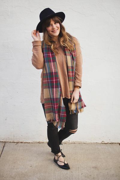 camel modcloth scarf - black H&M jeans - navy H&M hat - camel H&M sweater