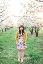 pink modcloth dress - mustard AGAR cardigan - light pink BC footwear wedges