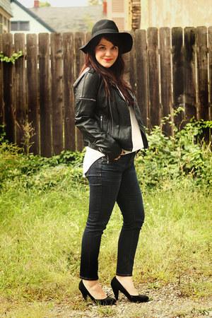 black modcloth jacket - blue madewell jeans - black Forever21 heels
