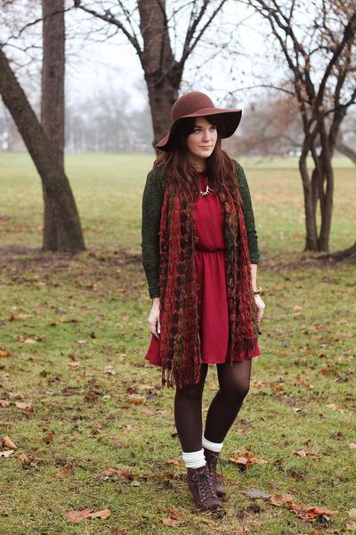 brown Seychelles boots - maroon No Rest for Bridget dress - brown sosie hat