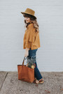 Blue-madewell-jeans-dark-khaki-urban-outfitters-hat-mustard-madewell-sweater