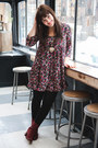 Maroon-seychelles-boots-maroon-ruche-dress-black-h-m-tights