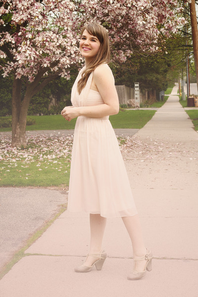 light pink Topshop dress - off white Seychelles heels