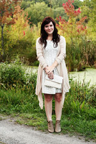 light brown Ruche boots - white others follow dress - ivory Avenle bag