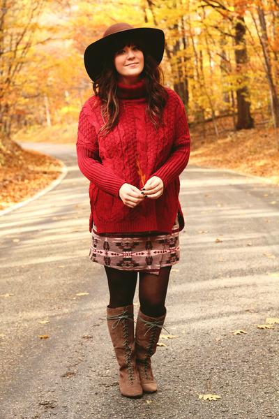 light brown Urban Outfitters boots - dark brown sosie hat