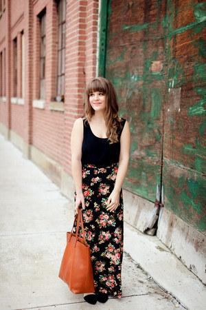 black Forever 21 skirt - tawny madewell bag - black Forever 21 flats