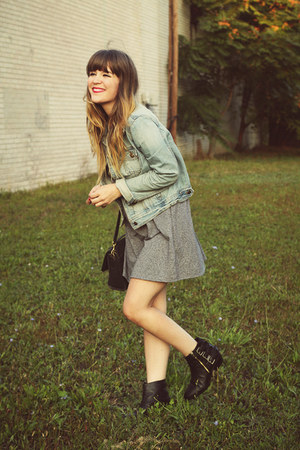 black shoemint boots - heather gray Forever21 dress - blue Forever21 jacket