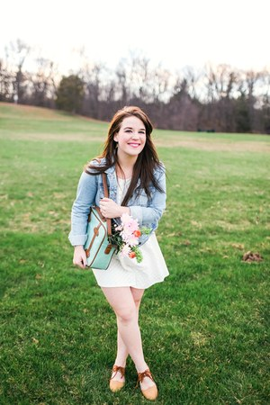 white modcloth dress - camel asian icandy shoes - blue Forever21 jacket