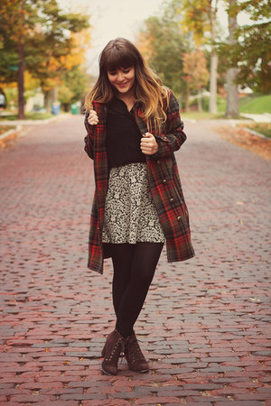 crimson free people coat - dark brown Seychelles boots - black modcloth tights