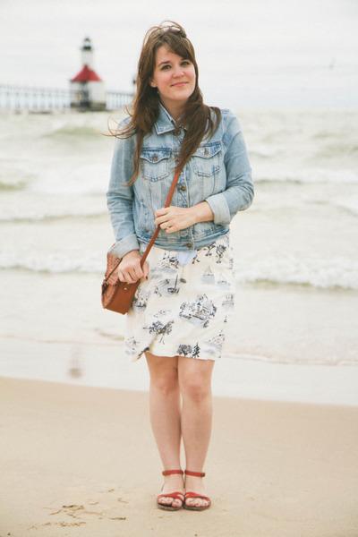 white modcloth dress - blue Forever 21 jacket - tawny pitaya purse