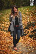 black BB Dakota cardigan - blue American Eagle jeans - tawny modcloth flats