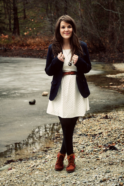 white modcloth dress - brown 2568 boots - navy modcloth jacket