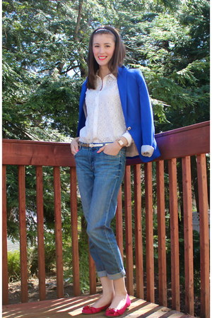 Joe Fresh jeans - Zara blazer - Aldo flats - Joe Fresh blouse - relic watch
